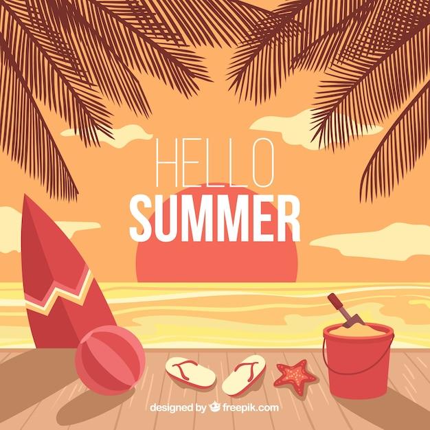Sfondo estate con elementi di spiaggia Vettore gratuito
