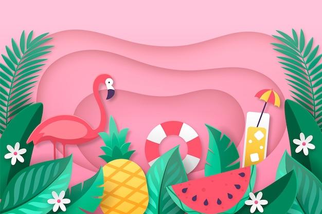 Sfondo estate creativa in stile carta Vettore gratuito