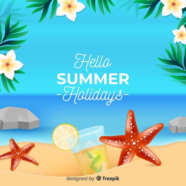 Sfondo estate realistica Vettore gratuito