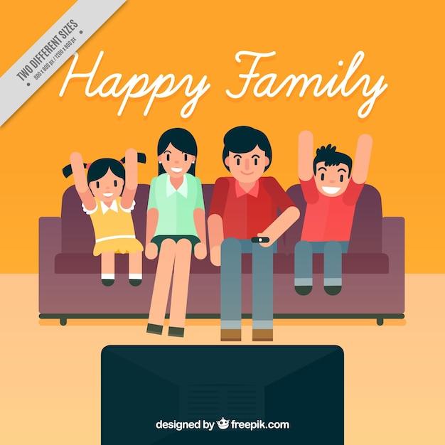 Sfondo Famiglia nel soggiorno a guardare la TV | Scaricare vettori ...