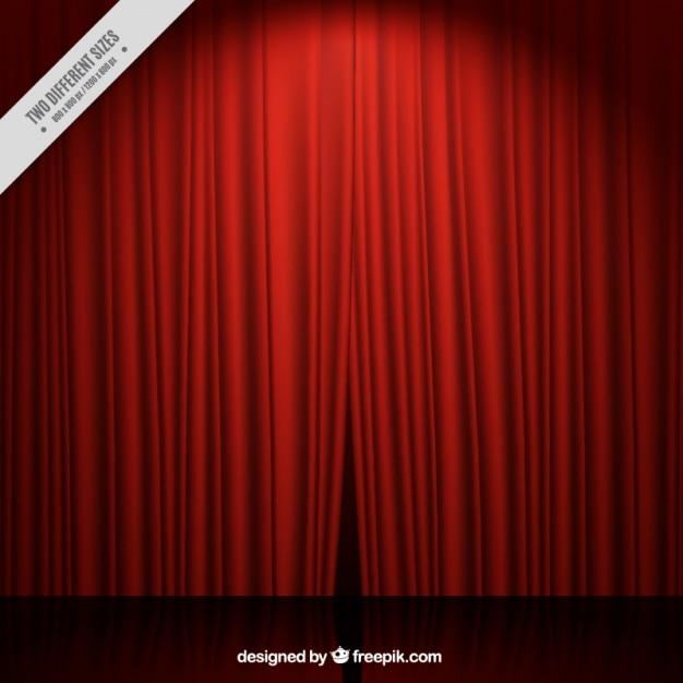 sfondo Fase del teatro con le tende rosse Vettore gratuito