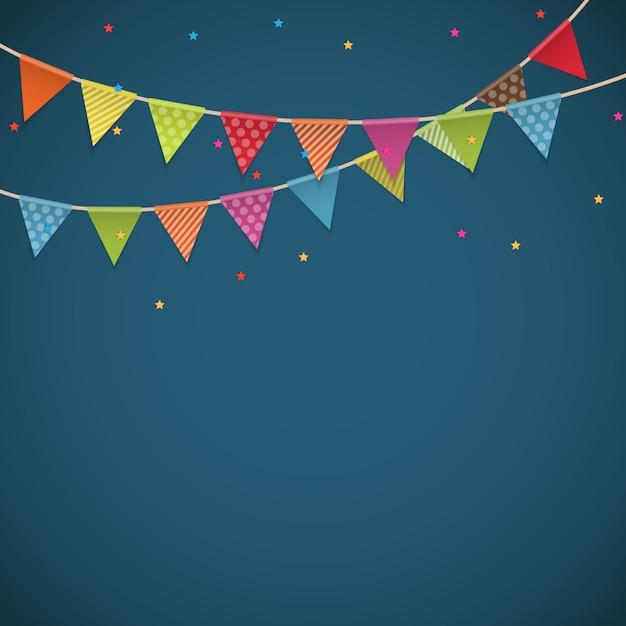 Sfondo festa con bandiere Vettore Premium