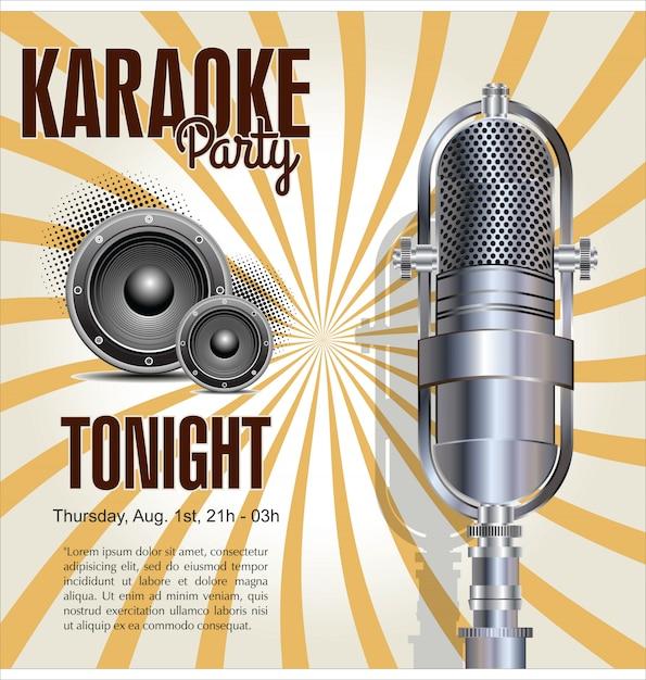 Sfondo festa karaoke Vettore Premium