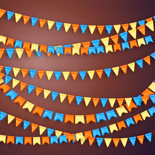 Sfondo festivo con ghirlande di bandiere Vettore Premium