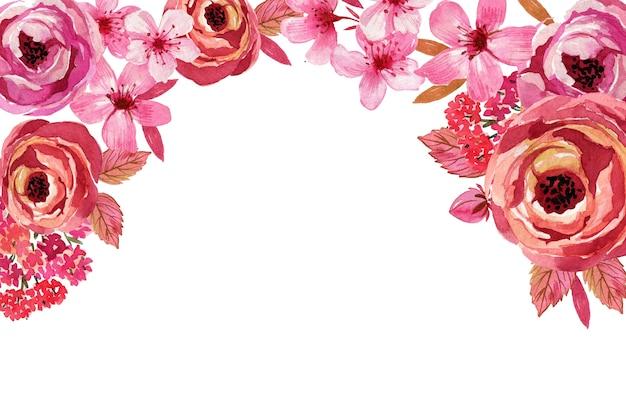 Sfondo fiori monocromatici dell'acquerello Vettore gratuito