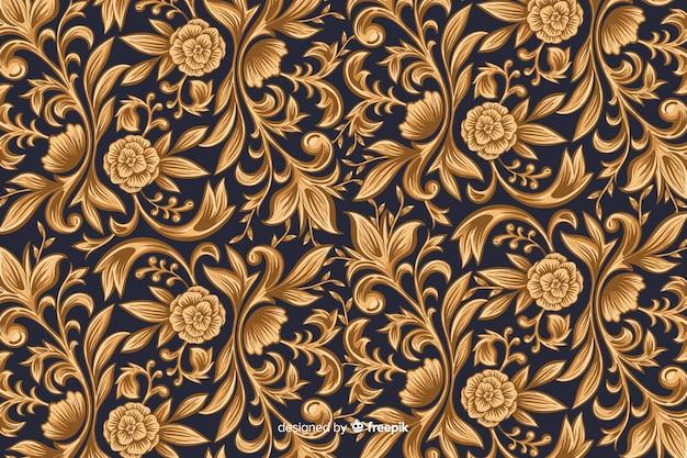 Sfondo floreale artistico ornamentale dorato Vettore gratuito