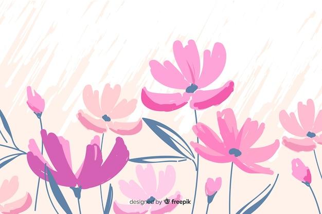 Sfondo floreale carino dipinto a mano Vettore gratuito