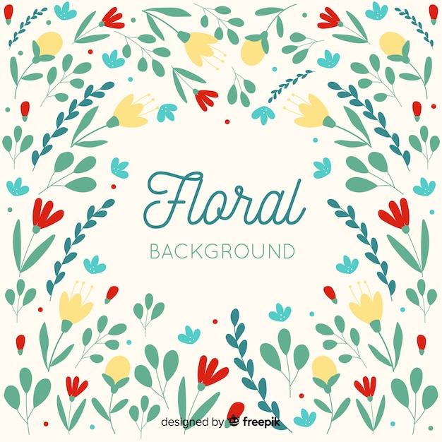 Sfondo floreale colorato design piatto Vettore gratuito