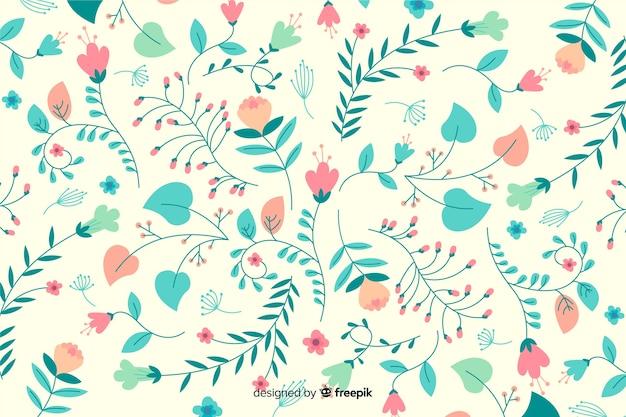 Sfondo floreale colorato disegnato a mano Vettore gratuito