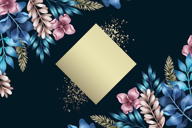 Sfondo floreale con distintivo trapezio vuoto Vettore gratuito