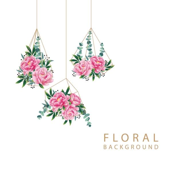 Sfondo floreale con fiore di peonia e foglia di eucalipto Vettore Premium