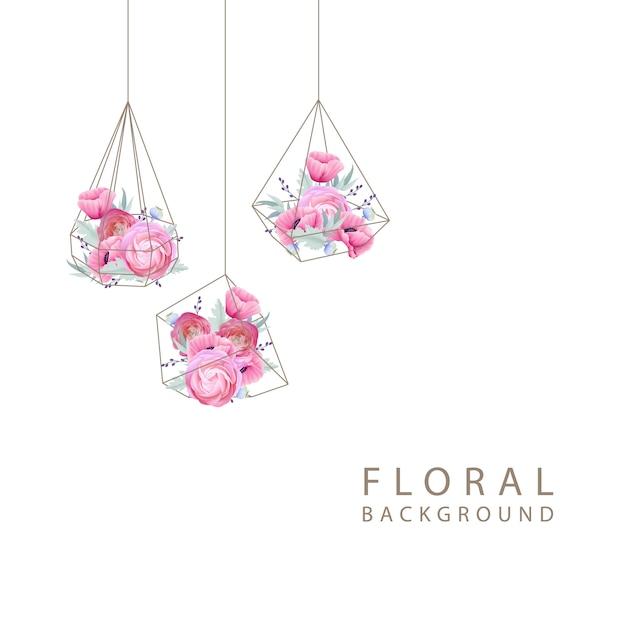 Sfondo floreale con fiori di ranuncolo e papavero nel terrario Vettore Premium