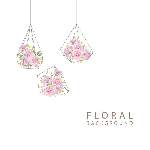 Sfondo floreale con garofani rosa nel terrario Vettore Premium
