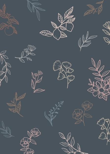Sfondo floreale con piante di doodle Vettore gratuito