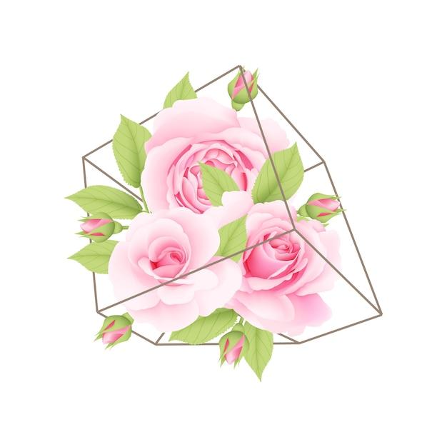Sfondo floreale con rose rosa in terrario Vettore Premium