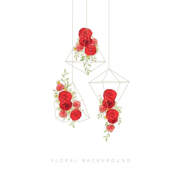 Sfondo floreale con rose rosse da giardino in terrario Vettore Premium