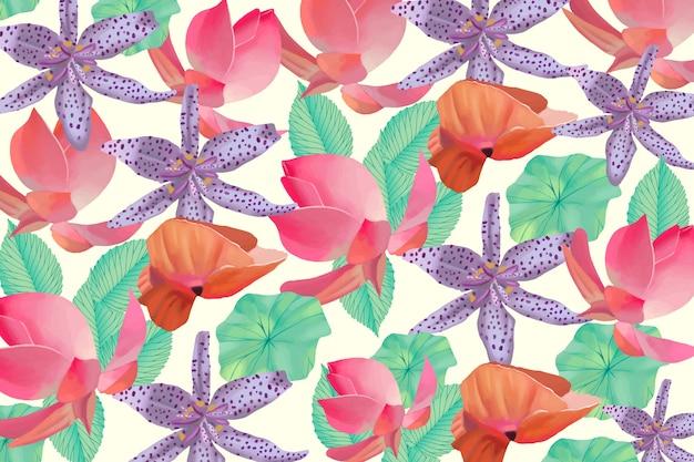 Sfondo floreale dipinto colorato Vettore gratuito