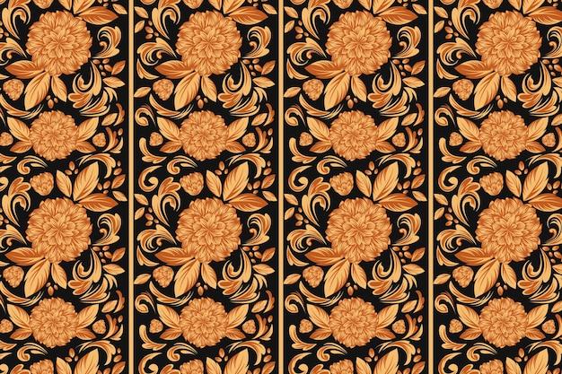 Sfondo floreale ornamentale dorato Vettore gratuito
