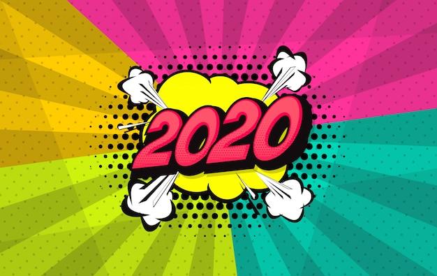 Sfondo fumetto stile pop art 2020 Vettore Premium
