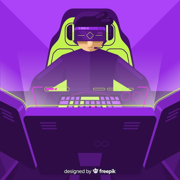 Sfondo futuristico di un giocatore di computer Vettore gratuito