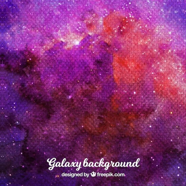 Sfondo galassia acquerello con toni rossastri Vettore gratuito