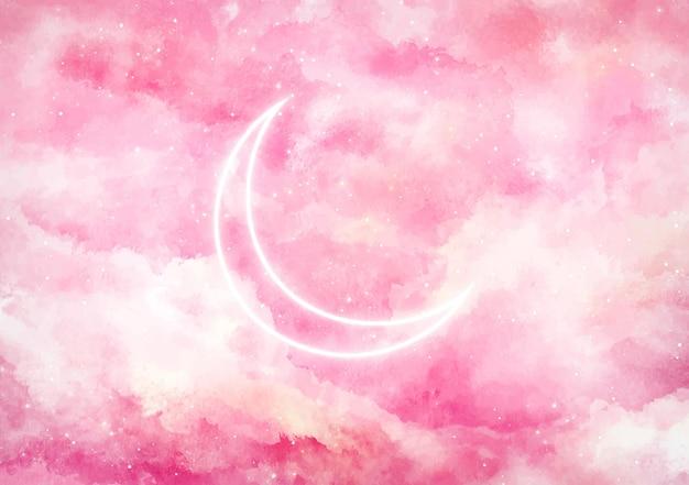 Sfondo galassia con luna al neon Vettore gratuito