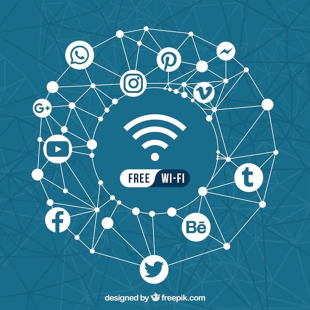 Sfondo geometrico delle reti sociali e della connessione wifi gratuita Vettore gratuito