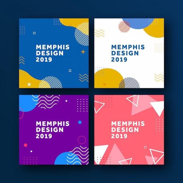 Sfondo geometrico di memphis poster Vettore Premium