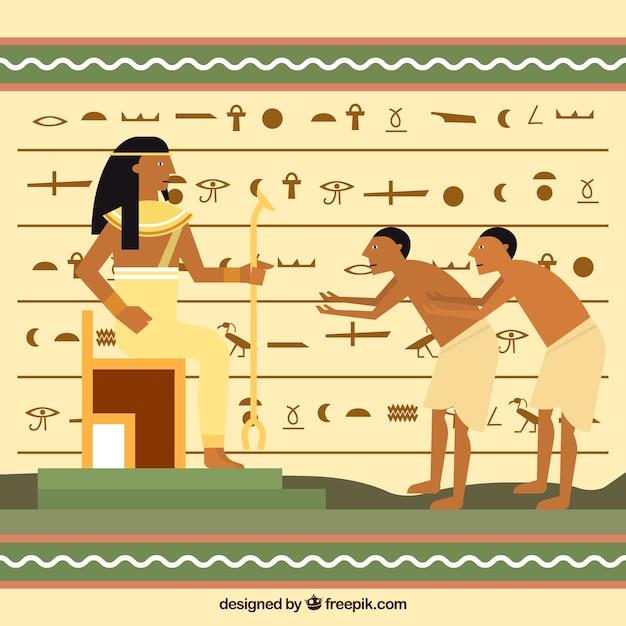 Sfondo geroglifici egiziani con design piatto Vettore gratuito