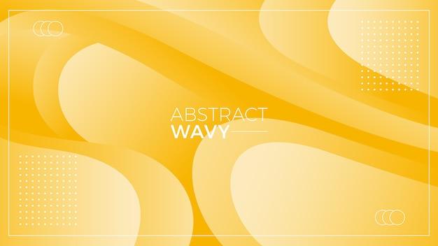 Sfondo giallo ondulato astratto Vettore Premium