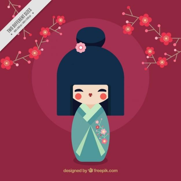 Sfondo giapponese con geisha Vettore gratuito