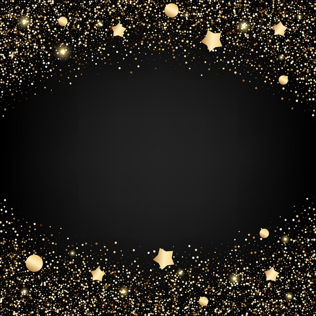 Sfondo glitter oro con stelle Vettore Premium