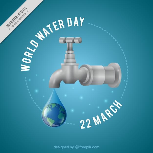 Sfondo goccia d'acqua del rubinetto in stile realistico Vettore gratuito