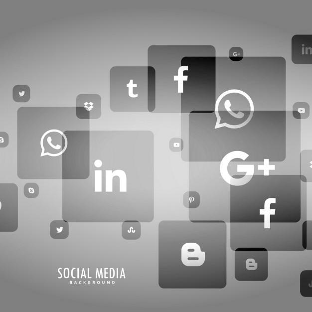 Sfondo grigio del logo social media Vettore gratuito