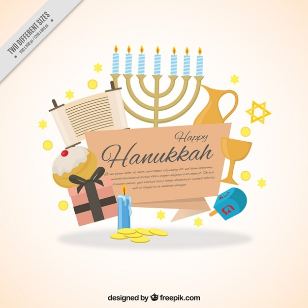 Sfondo hanukkah piatto con gli elementi decorativi Vettore gratuito