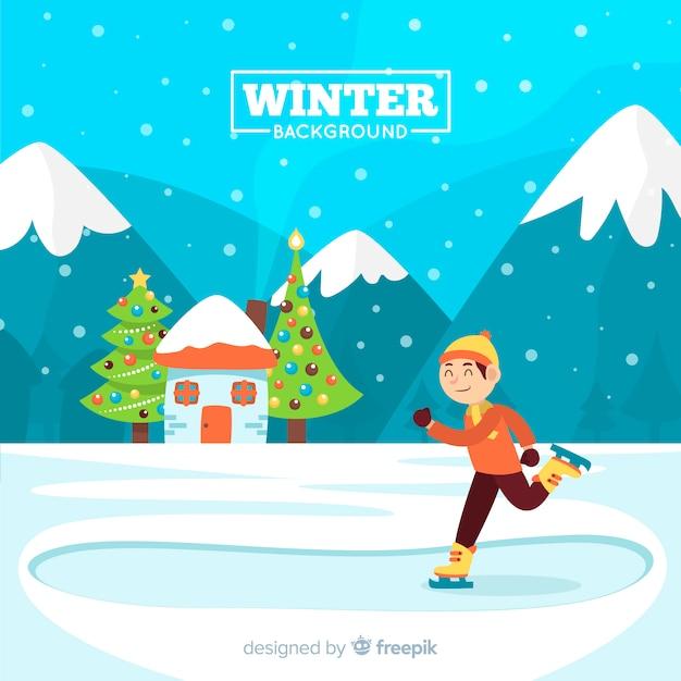 Sfondo invernale Vettore gratuito