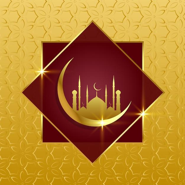 Sfondo islamico con la luna d'oro e la moschea Vettore gratuito