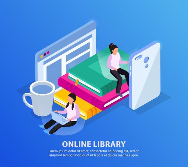 Sfondo isometrico biblioteca online con gadget elettronici di personaggi umani e pila di libri con testo modificabile Vettore gratuito