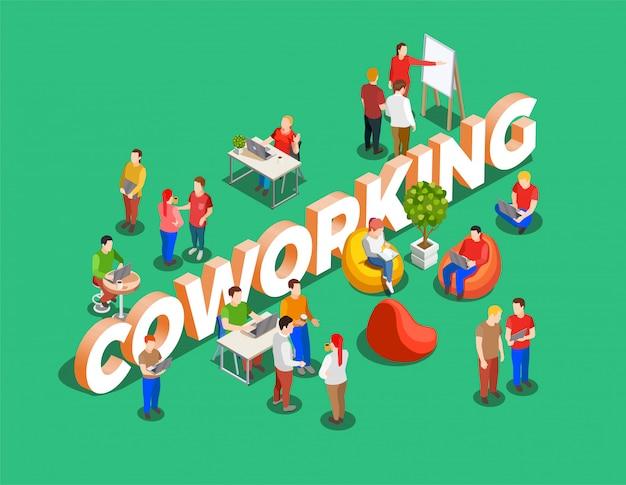 Sfondo isometrico spazio di coworking Vettore gratuito
