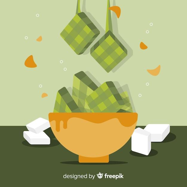Sfondo ketupat in design piatto Vettore gratuito