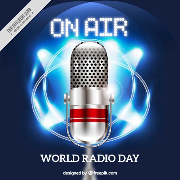 Sfondo lucido con il megafono per giorno la radio mondo Vettore gratuito