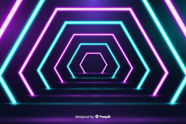 Sfondo luminoso geometrico luci al neon Vettore gratuito