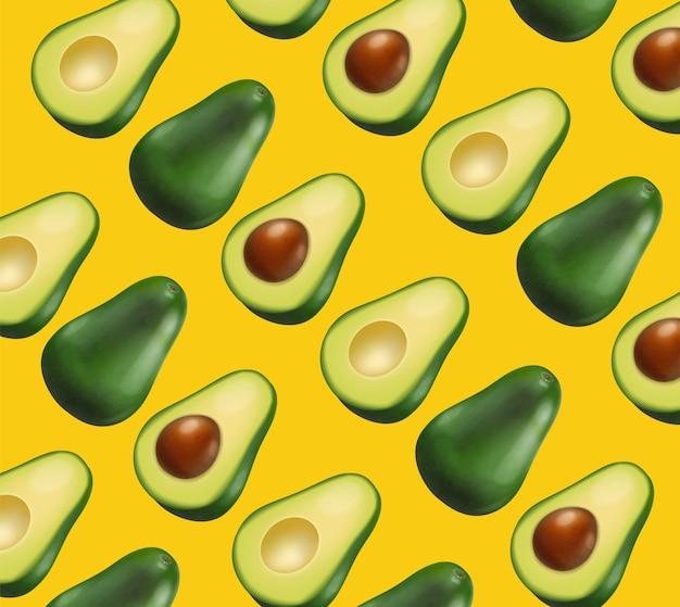 Sfondo luminoso giallo modello avocado Vettore Premium