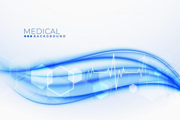 Sfondo medico e sanitario con linee cardio battito cardiaco Vettore gratuito