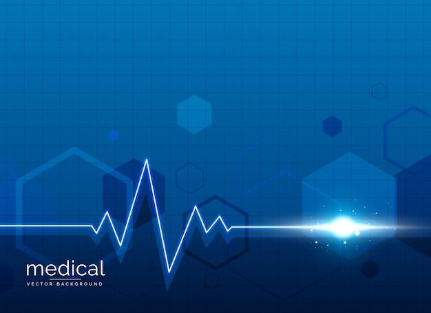 Sfondo medico sanitario con linea di battito cardiaco Vettore gratuito