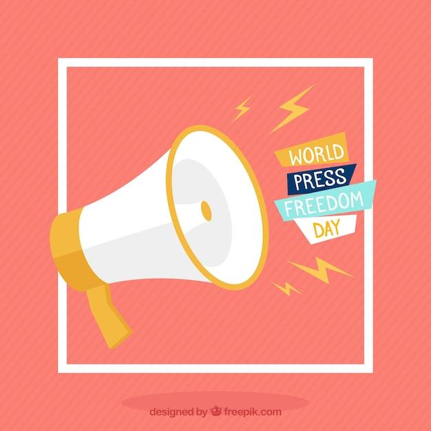 Sfondo megafono per la giornata della libertà di stampa mondiale Vettore gratuito