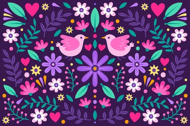 Sfondo messicano floreale colorato Vettore gratuito