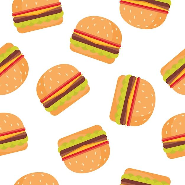 Sfondo modello di hamburger Vettore Premium