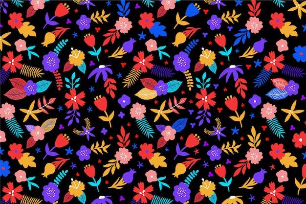 Sfondo multicolore con disegno floreale Vettore gratuito