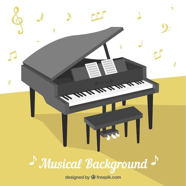 Sfondo musicale con pianoforte Vettore gratuito